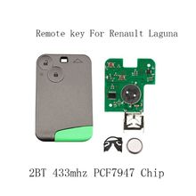 лучшая цена Smart Remote Key Car-Styling 2 Buttons PCF7947 Chip 433Mhz suit for Renault Laguna Espace 2001-2006 Smart Card Remote Fob