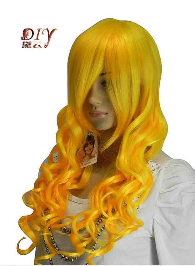 Shun USPS в США, Россия, хит, женский, золотой, желтый, волнистый, синтетический, модный, Повседневный, косплей, длинные волосы, полный парик, 10,21
