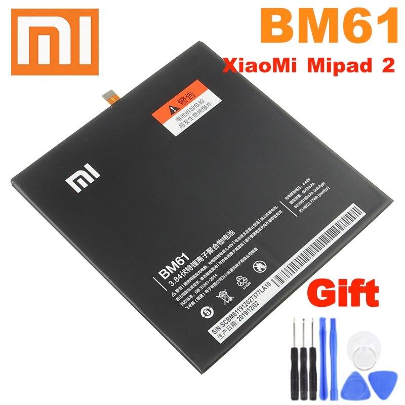 Xiao Mi 100% оригинальный аккумулятор BM61 для планшетов Xiaomi Mi Pad 2 MiPad 2 7,9 дюйма 6010 мАч аккумулятор с реальной емкостью
