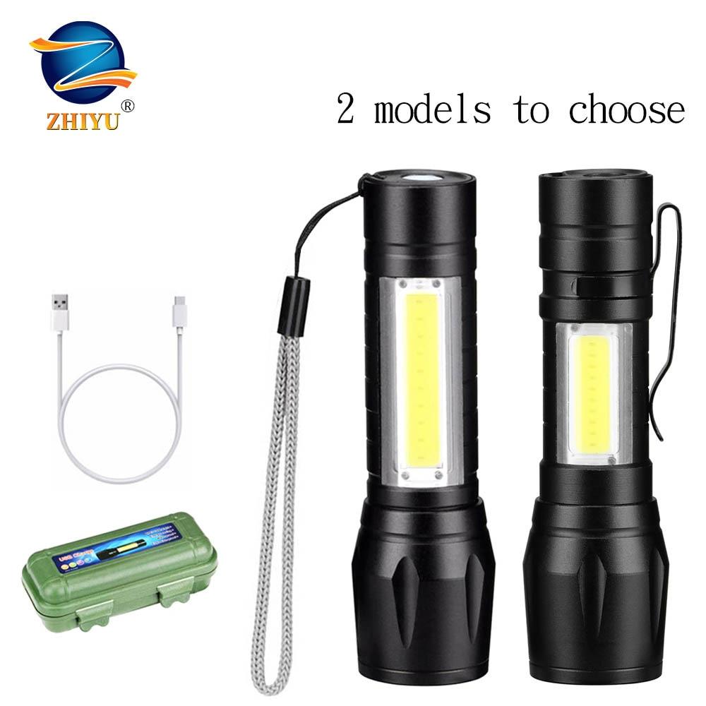 Permalink to ZHIYU Portable LED Flashlight COB+XPE Tactical Torch Zoomable Focus Flashlights 3 Modes Waterproof Work Light Emergency Lanterna