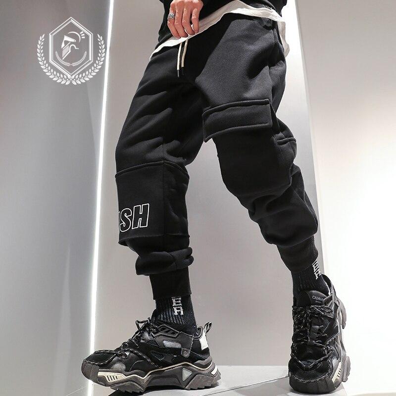Men Loose Fleece Heavyweight Harem Jogger Pants Patchwork Ankle-Length Hip Hop Pants