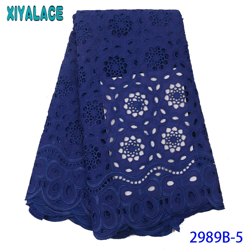 African Lace Fabric Swiss Voile Lace High Quality Nigerian Fabric Cotton Laces With Stones Hollow Out Design KS2989B-5
