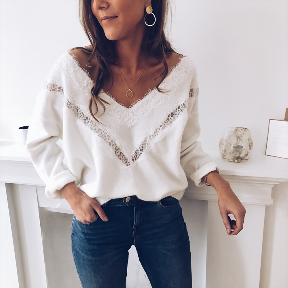 V Neck Solid Women Sweaters Women V-Neck Long Sleeve Lace Knitted Pullover Loose Sweater Jumper Tops 2019 Autumn Winter D