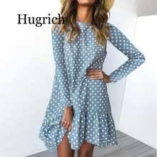 Женское облегающее мини платье в горошек с круглым вырезом и
