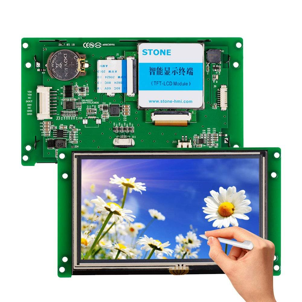 STONE 5.0 Inch  TFT LCD Module With Touch Panel + Controller Board + Software + CPU + UART Port For Industrial Use