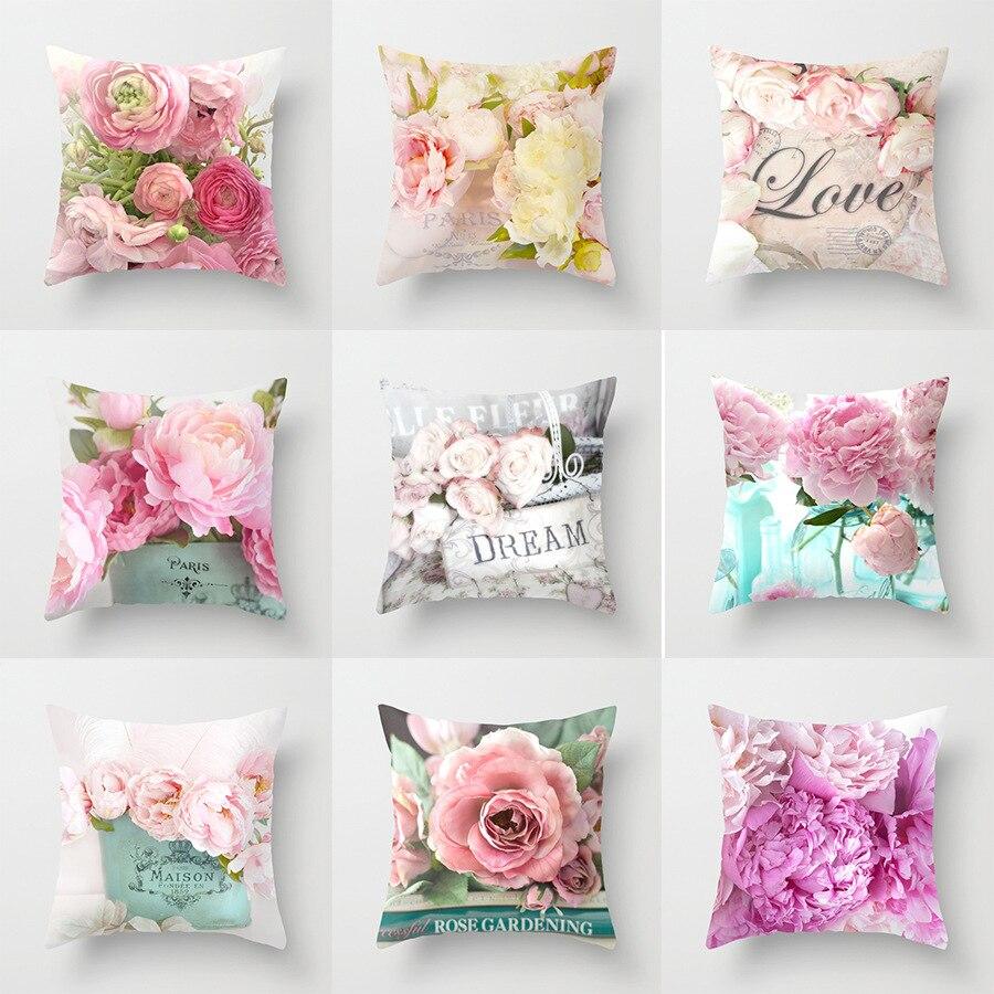 45 * 45cm Pillow Case New American Country Rose Print Pillowcase Square Decorative Pillowcase