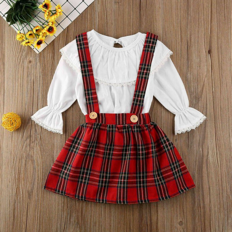 2020 Summer Autumn Newborn Toddler Baby Girls Lace Top T-shirt +Plaid Tutu Skirt Outfit 0-3Y Clothes Set