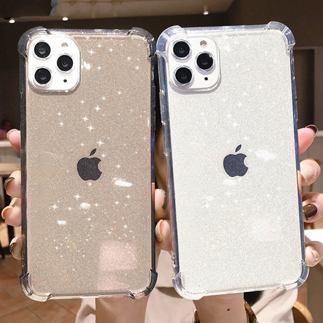 Glitter Transparent Shockproof Phone Case For iPhone 12 Pro 11 Pro Max XR X XS Max 7 8 Plus SE 2020 Soft TPU Shining Back Cover 1