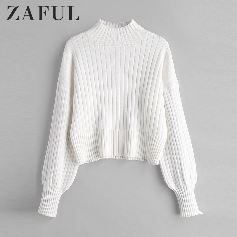 ZAFUL Warm Cotton Sweater Turtleneck Drop Shoulder Solid Loose Tops Knitted Women Sweater Jumpers Long Sleeve Pullovers Autumn