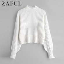 ZAFUL Warm Cotton Sweater Turtleneck Drop Shoulder Solid Loose Tops Knitted Women Sweater Jumpers Long Sleeve Pullovers Autumn coffee patch detail drop shoulder sweater