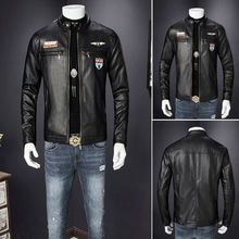 Fall Winter = Mens Leather Jackets Plus Size 3XL Coat of Mens Faux Coats Biker Motorcycle Male Classic Jacket Top Quality