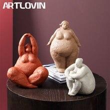 ARTLOVIN – Figurines Vintage de grosse dame abstraite, Statue de table en résine, artisanat, ornements de décoration de maison, Figurines créatives