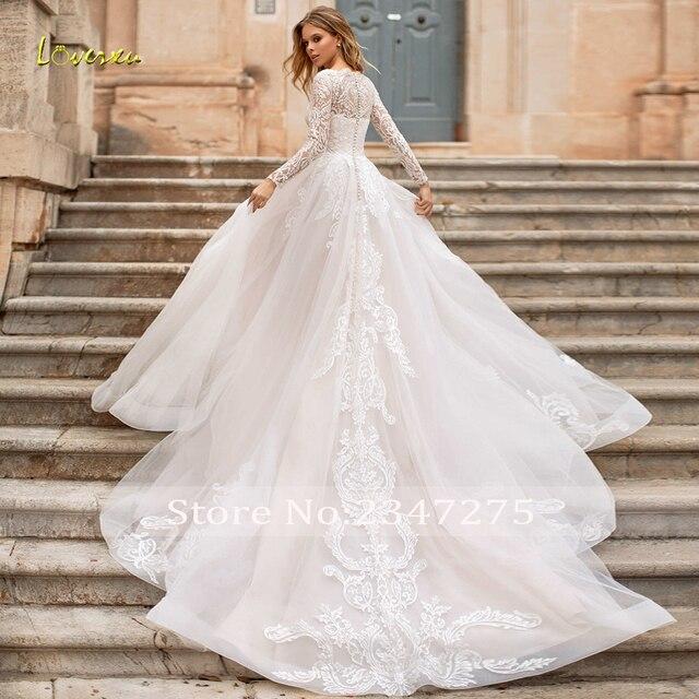Loverxu Vestido De Noiva Long Sleeve Lace Vintage Wedding Dresses 2021 Sexy Illusion Appliques Court Train A Line Bridal Gowns 2
