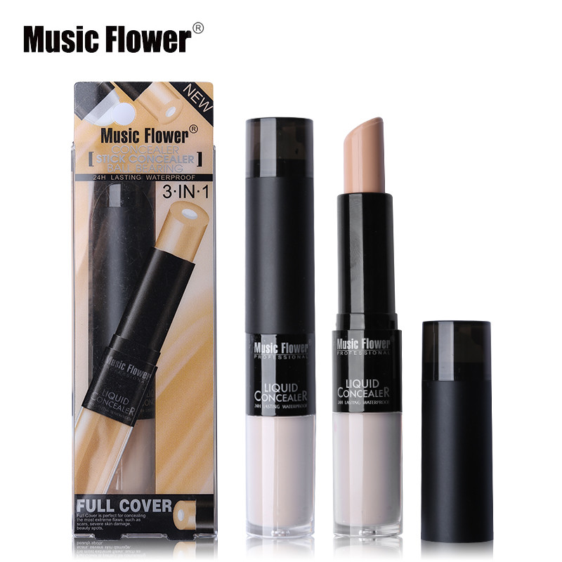 3 IN 1 Music Flower Makeup Face Liquid Concealer Highlight Stick Cream Contour Ball Bearing Full Cover Color Corrector