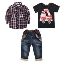 Hooyi Boys Jeans Set 3pcs Plaid Shirt Overall Firetruck T shirt Jeans Pants Suspender Kid Clothes Car Outfit Trousers Suits