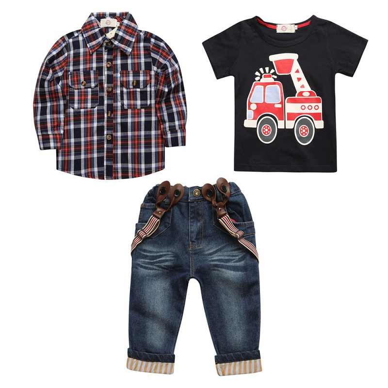 Hooyi Boys Jeans Set 3pcs Plaid Shirt Overall Firetruck T-shirt Jeans Pants Suspender Kid Clothes Car Outfit Trousers Suits title=