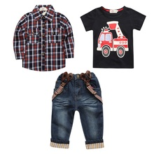 Hooyi Jongens Jeans Set 3 stuks Plaid Shirt Algehele Brandweerwagen T shirt Jeans Broek Jarretel Kid Kleding Auto Outfit Broek Suits