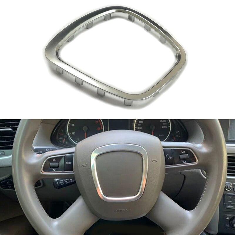 Matte silver chrome steering wheel trim flying wheel badge emblem frame accessories for Audi Q5 Q7 A6 C6 A5 A4 B6 B7 B8 A3 S3 8P