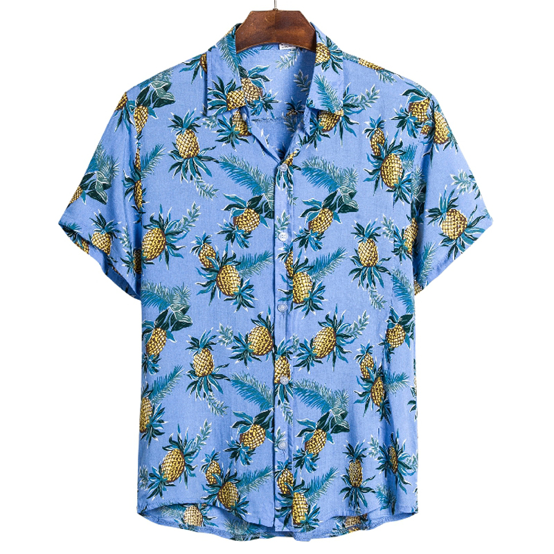 Men Pineapple Shirts Tops Casual Short Sleeve Fruit Print Hawaiian Beach Holiday Vacation Shirt 3XL Y2092