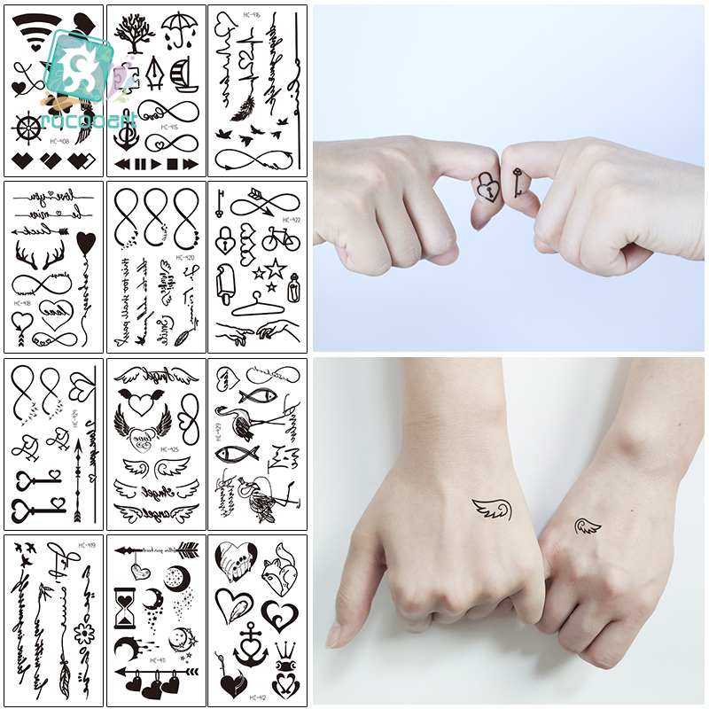 Rocooart Black ECG Waterproof Temporary Tattoo Sticker  Lock The Keys Design  Women Me0n Body Finger Art Waterproof  Fake Tattoo