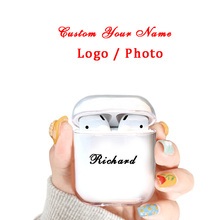 Custom Name/Logo/Image Hard Plastic Case For AirPods Bluetooth Wireless Clear Airpod Cover DIY Customized Photo Letters