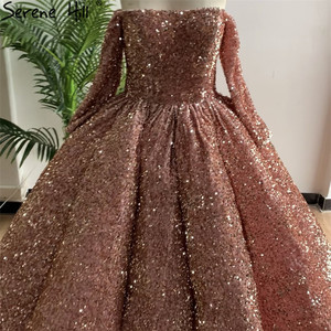 Image 2 - Gül altın lüks uzun kollu düğün elbisesi 2020 Sequins Sparkle High end seksi gelinlikler gerçek resim DHA2304 Custom Made