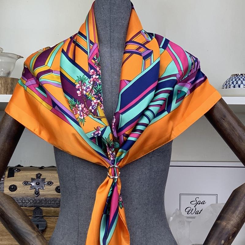 2020 newsilk cachecol moda foulard cetim xale scarfs tamanho grande 90*90cm quadrado de seda cabelo/cabeça lenços feminino bandana lenço