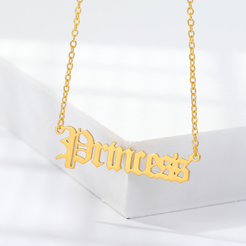 2020 Fashion Gold Babygirl Letter Necklace Name Pendants Lovely Stainless Steel Angle Necklace Women Girls Jewelry Gift for Mom image