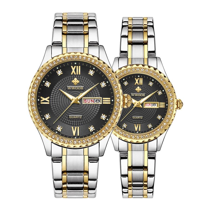WWOOR Business Couple Silver Stainless Steel Watches Men Women Quartz Lover's Watch Date Quartz Wristwatches Montre Femme Homme