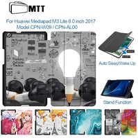 MTT-Funda de tableta para Huawei Mediapad M3 Lite, 8 pulgadas, piel sintética, con soporte abatible, CPN-W09, CPN-AL00