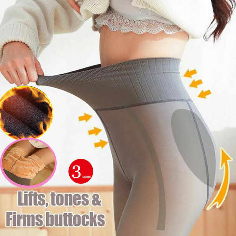 Legs Fake Translucent Warm Fleece Slim Stretchy For Winter Outdoor Women KNG88