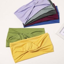 Casual Solid Color Cross Knot Headband Women Sports Yoga Twisted Turban Wide Hairband Headwrap Polyester Cotton Hair Accessories