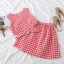 Heliar Sets Women Zipper Plaid Tank Top and Skirts Two Pieces Outfits Women Sets Top and Mini Skirts Sets Women 2020 Summer