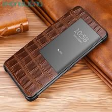 יוקרה חכם מגע flip מקרה עבור Huawei mate20 p30 p20 mate10 פרו לייט להציג חלון עור תנין עור הגנת טלפון כיסוי