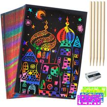 50 childrens scraping crafts black paper magic rainbow drawing board 5 wooden stylus 4 ruler 1 pencil sharpener gift