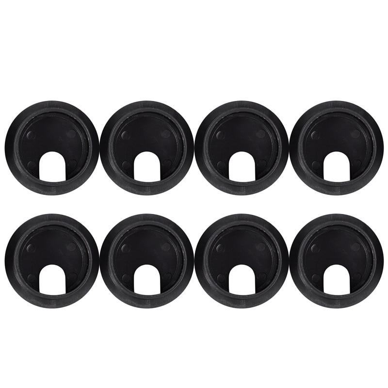 Fashion-Black Round Plastic Computer Desk Cable Grommet Hole Cover 35mm 8Pcs