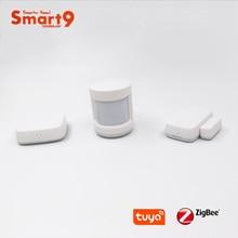 Smart9 Smarthome DIY Kit, zigBee PIR + ประตู + เซนเซอร์อุณหภูมิทำงานด้วย Tuya ZigBee HUB Smart Life APP ขับเคลื่อนโดย Tuya