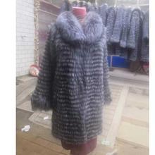 Linhaoshengyue женское длинное пальто из лисьего меха с длинным рукавом и отложным воротником