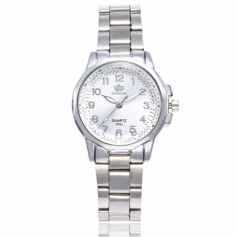 นาฬิกาผู้หญิงสแตนเลสสตีลBand Analogควอตซ์รอบนาฬิกาข้อมือนาฬิกาสุภาพสตรีCasualหญิงนาฬิกาReloj Mujer