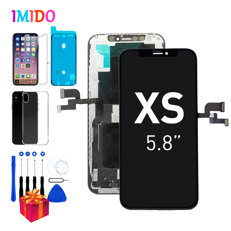 Original AMOLED LCD Screen For iPhone XS Display A2097 A1920 A2100 3D Touch Screen Digitizer Assembly Replacement + 4 Free Gifts