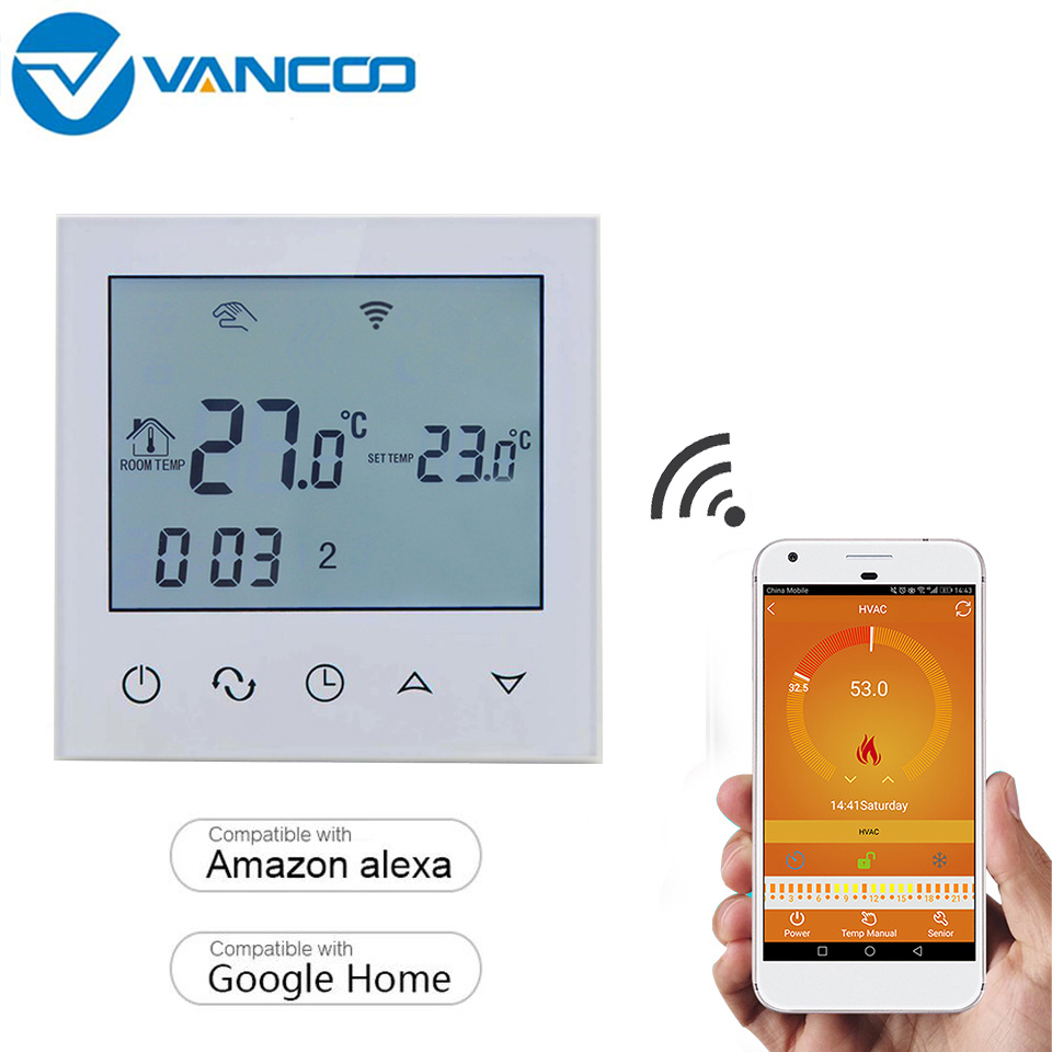 Vancoo Room WiFi Thermostat Temperature Controller For Warm Electric Underfloor Heating Week Programmable Thermostat 16A