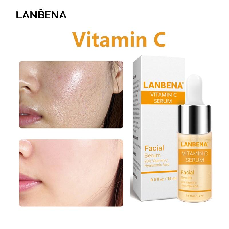 LANBENA Vitamin C Face Serum Whitening Skin Care Makeup Base Essence Firming Eye Patches Facial Cream Improving Dull Freckle