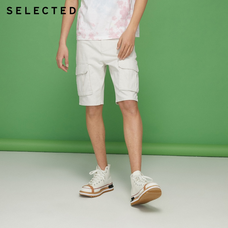 SELECTED Men's Slightly Stretch White Pockets Denim Shorts C 4202S3508