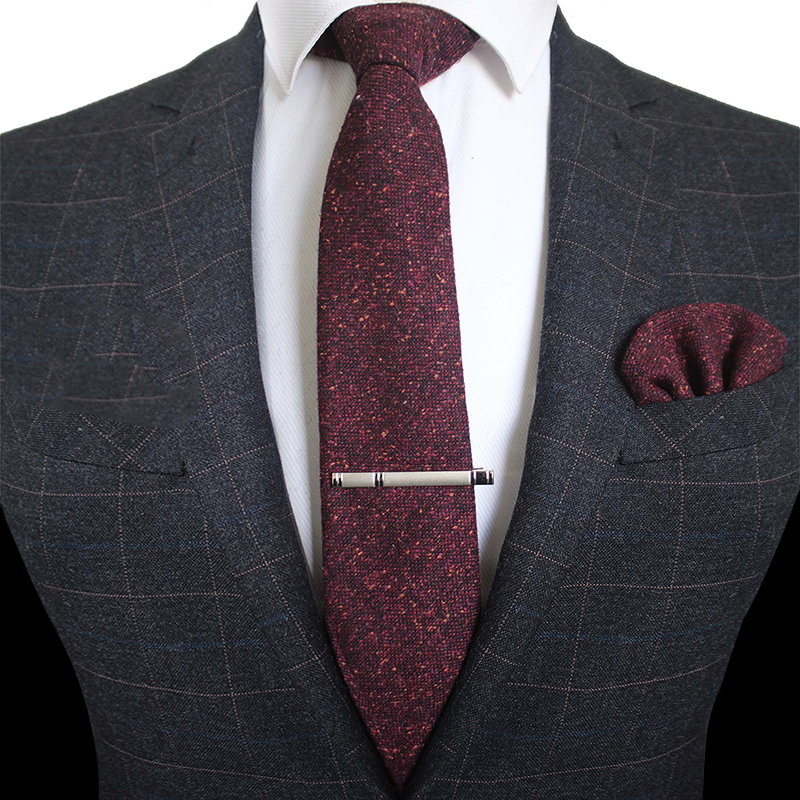 KAMBERFT Solid Color Cashmere Wool Necktie And Pocket Square Tie Clip Sets For Men 8cm Red Brown Green Gray For Men Wedding Tie