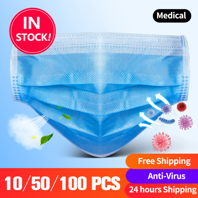 Disposable Face Mask Anti Dust Mask Mouth Mask Mouth-muffle Bacteria Proof Flu Face Masks 10/50/100 PCS KN N 95 Protective Masks 1