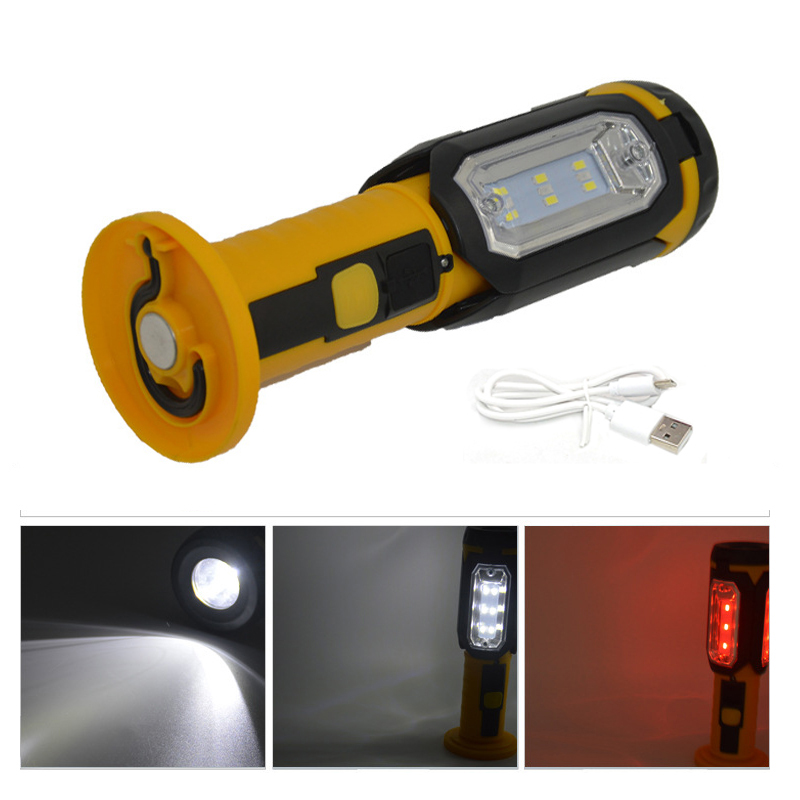 LEDUSB Charging Work Light Multi-function Rotary Lotus Head Inspection Light With Magnet Hook Red Light Warning Light