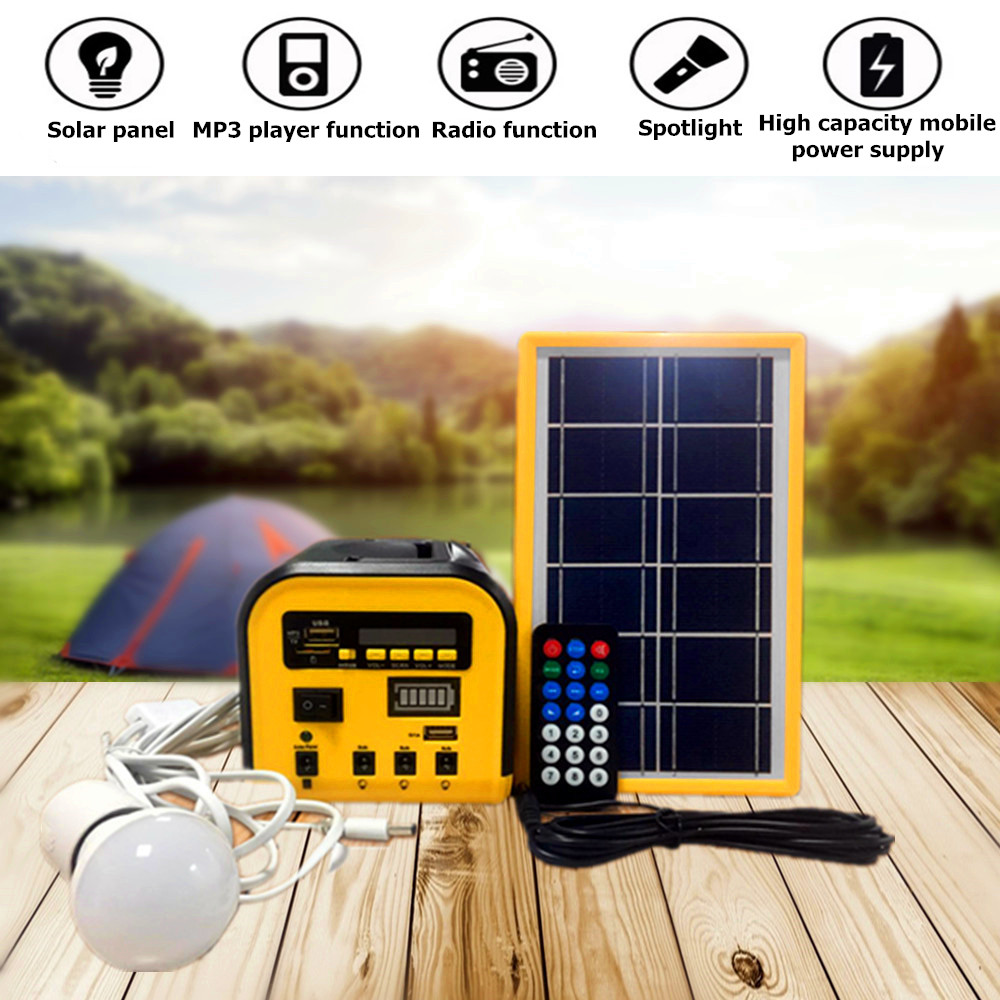 Charger Portable Home System Solar Panel Generator Kit With MP3 Radio LED Bulb Light Outdoor/Indoor/Camping Emergency Lighting