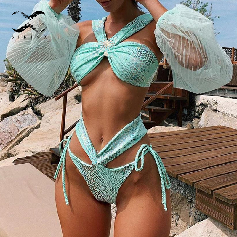 Sexy Bandage Bathing Suit Women Swimwear 2020 New Hollow Out Bikini Set High Cut Woman Swimsuit Female Two Piece Shiny Biquinis