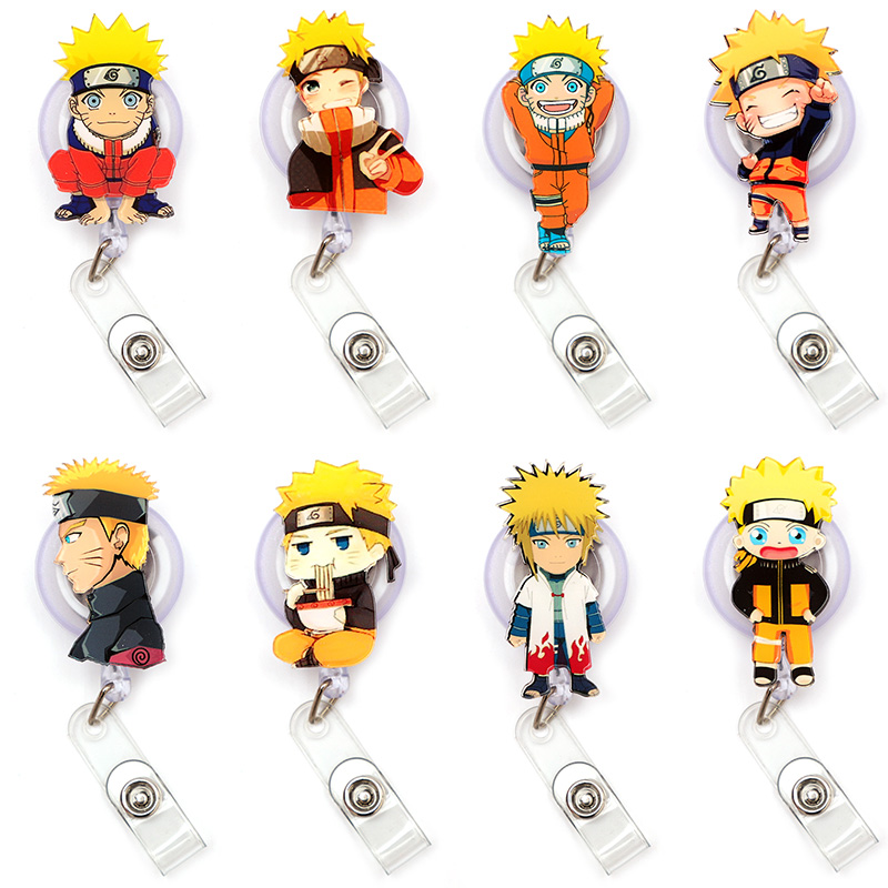 Cartoon Uzumaki Naruto Clown Retractable Creative Card Holder Badge Reel Nurse Exhibition Enfermera Girl Name Card Chest Boy