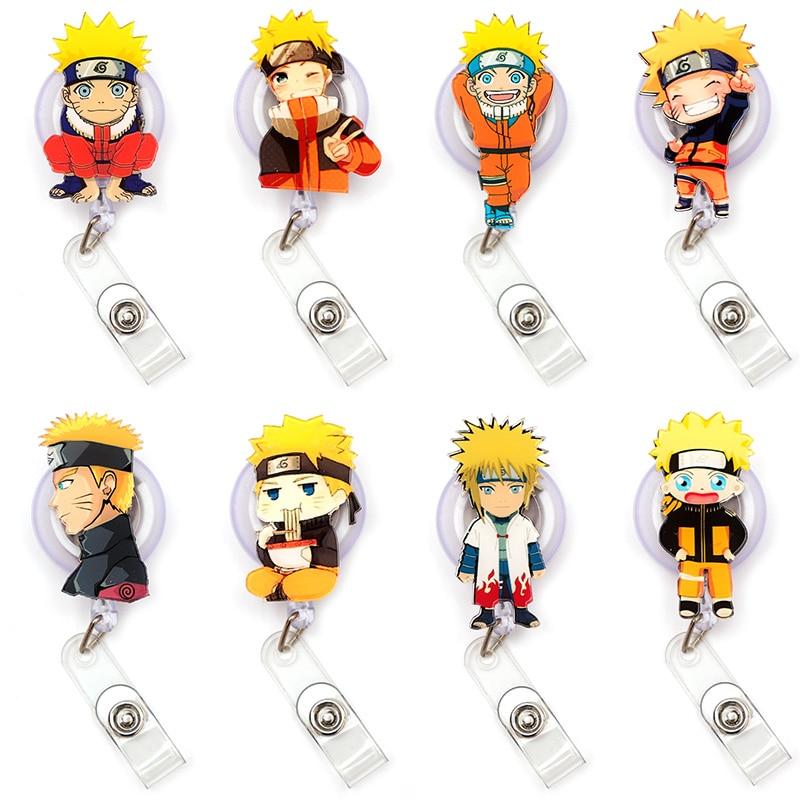 Cartoon Uzumaki Naruto Clown Retractable Creative Card Holder Badge Reel Nurse Exhibition Enfermera Girl Name Card Chest Boy